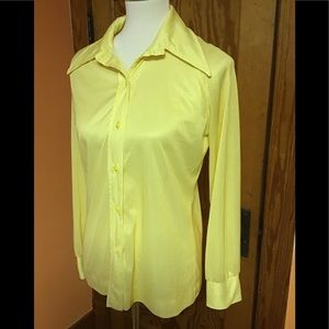 Seventies 70s yellow polyester big collar shirt